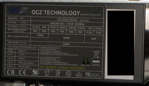 OCZ 4-rail unit label